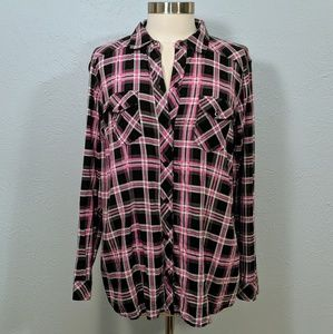 Torrid Pink & Black Plaid Button Front Camp Shirt